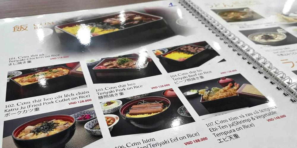 Menu giấy nhựa, in menu, menu pvc, menu, menu đẹp